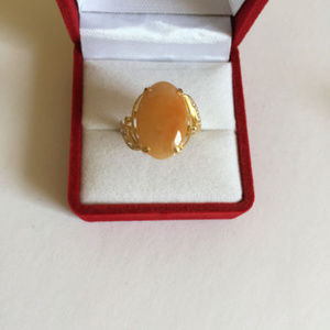 NEW 14K Solid Gold Oval Red Jade Women Ring